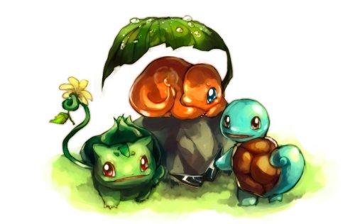 Die Starter-Pokémon von Kanto. Sie sind auch in Johto zu finden (Bild von Sa-Dui)