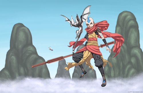 Der Luftbändiger Aang fliegt gerne herum