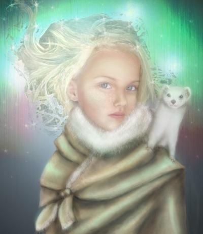 Lyra und ihr Daemon Pantalaimon (Bild von farewellrani)