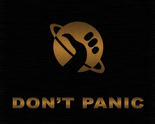 Wichtigstes Regal des Guides für Anhalter: Keine Panik! (Bild von endtime)