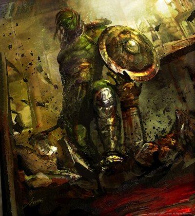 Grüne Haut und böser Blick -- ja, ein Ork (Bild von anssiart)