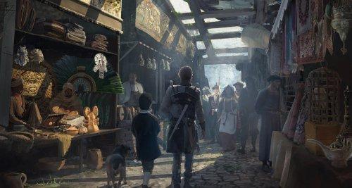 Eine Marktstraße von Planken überdacht. Ein Mann mit Schwert, ein Kind und ein Hund schlendern entlang.