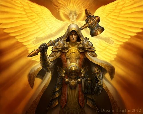 Palladin und Priester und eine epische Götter im Hintergrund (GoldenDaniel)