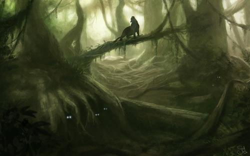 Ein diffuser Dschungel mit einem Panther auf der Jagd