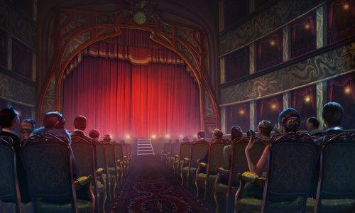 Ein Theater voller Menschen. Der Vorhang ist nicht gelüftet.