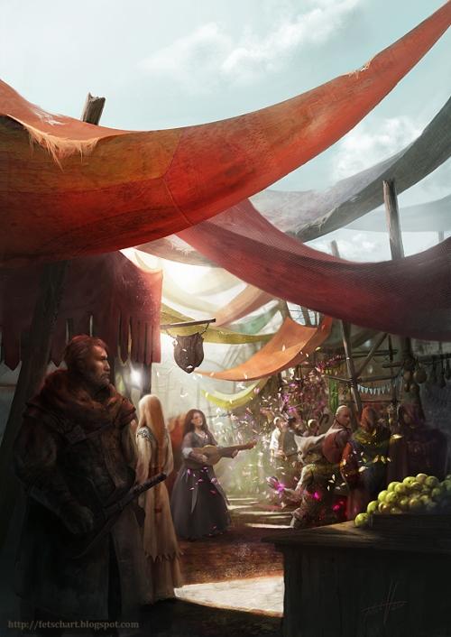 Ein sonnenbeschienener Marktplatz. Ein grimmiger Krieger sieht sich um. Digital Art.